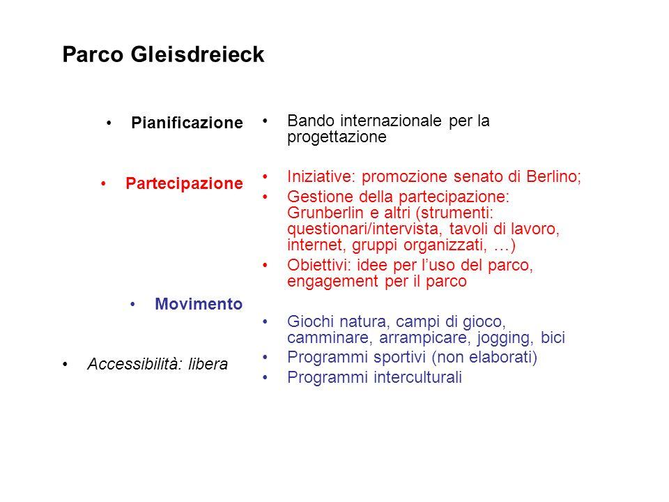 Parco Gleisdreieck Pianificazione Partecipazione Movimento Accessibilità: libera Bando internazionale per la progettazione Iniziative: promozione sena