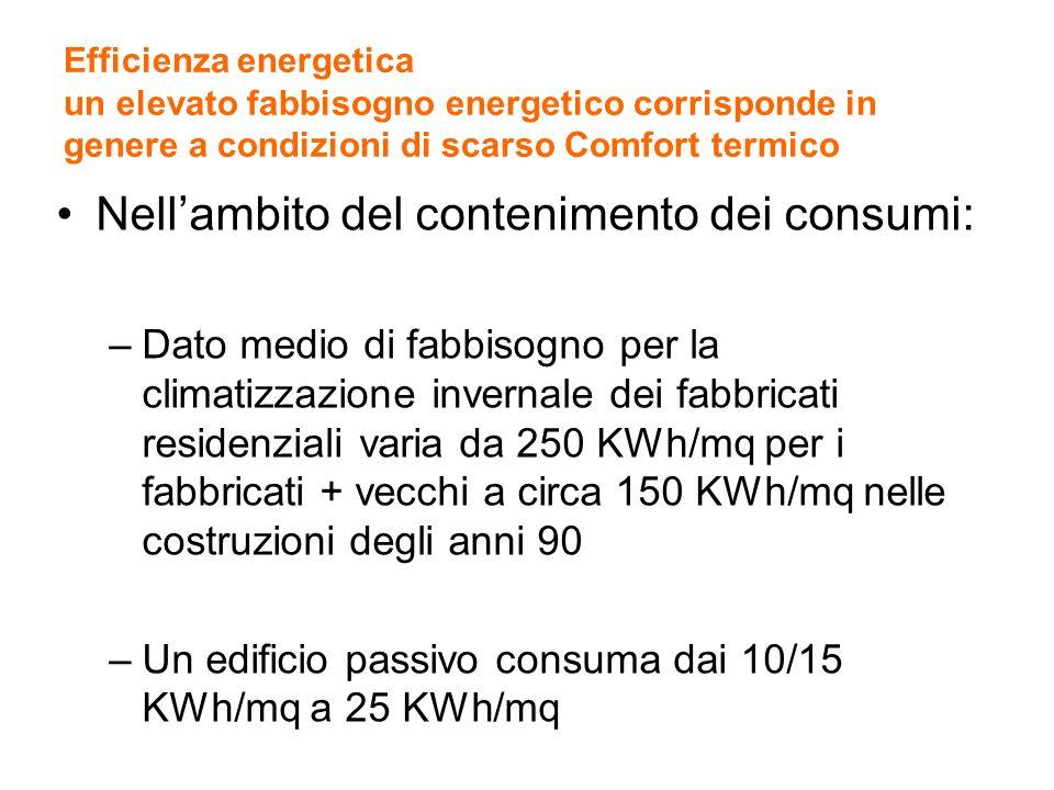 Efficienza energetica un elevato fabbisogno energetico corrisponde in genere a condizioni di scarso Comfort termico Nellambito del contenimento dei co