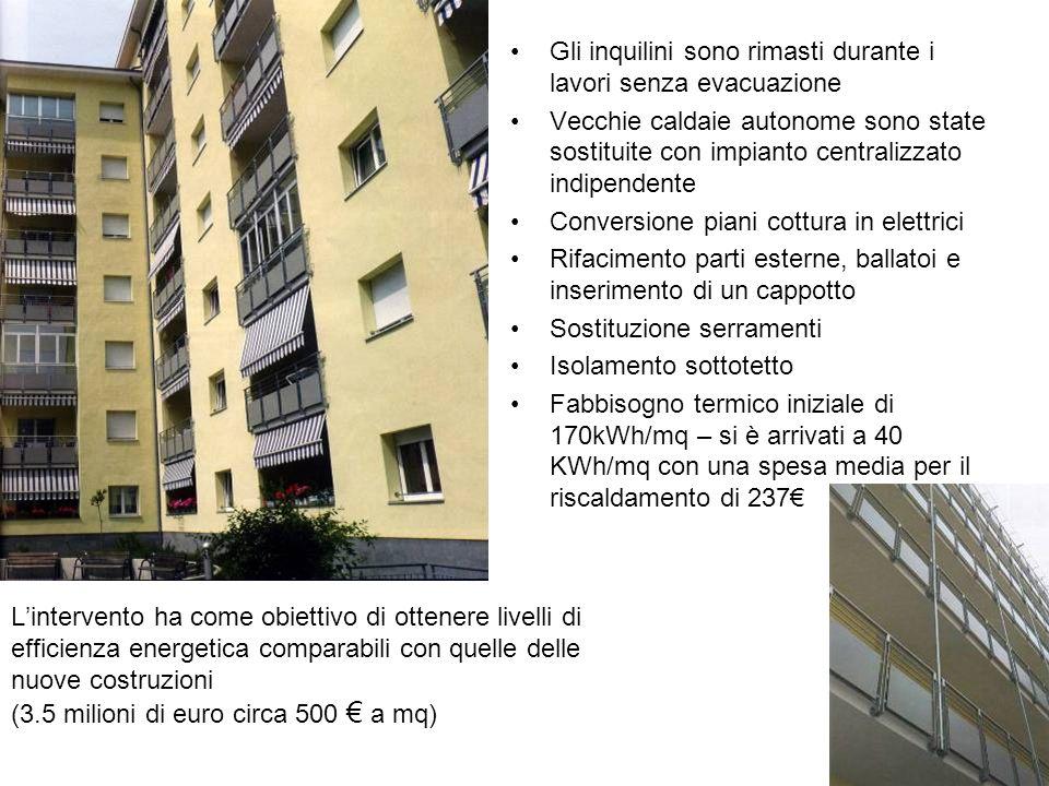 Lintervento ha come obiettivo di ottenere livelli di efficienza energetica comparabili con quelle delle nuove costruzioni (3.5 milioni di euro circa 5