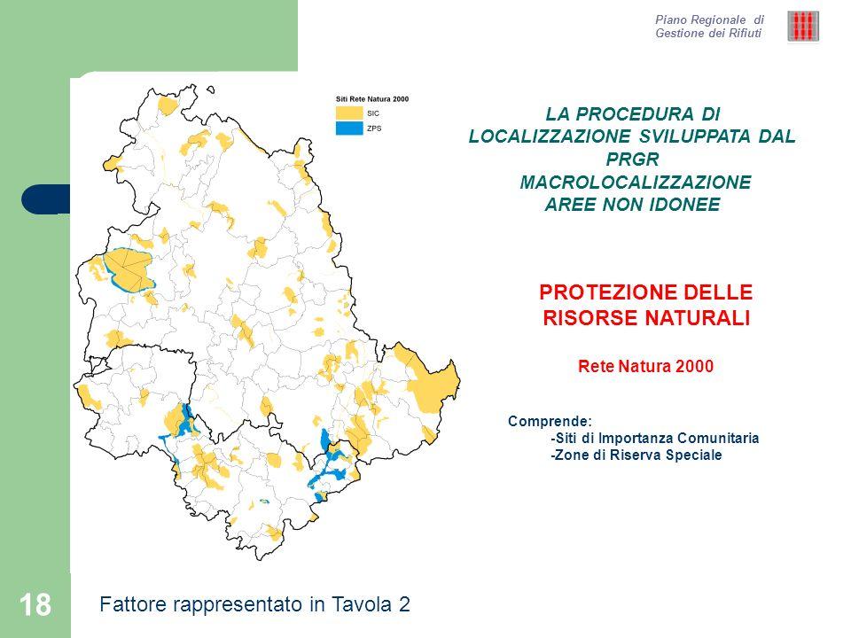18 Piano Regionale di Gestione dei Rifiuti PROTEZIONE DELLE RISORSE NATURALI Rete Natura 2000 Comprende: -Siti di Importanza Comunitaria -Zone di Rise
