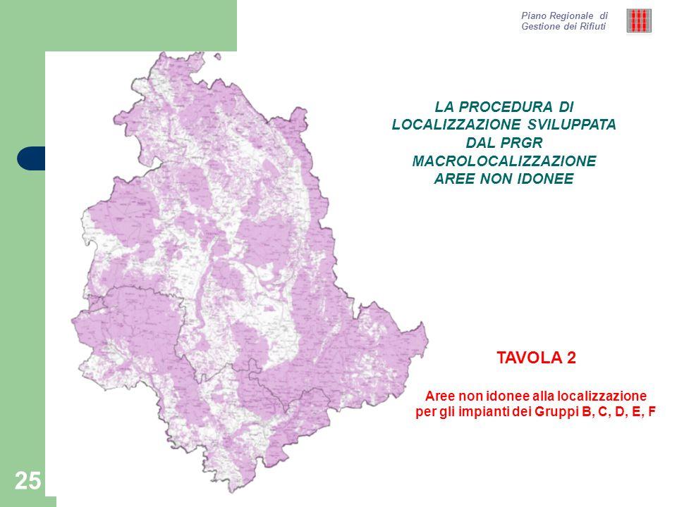 25 Piano Regionale di Gestione dei Rifiuti TAVOLA 2 Aree non idonee alla localizzazione per gli impianti dei Gruppi B, C, D, E, F LA PROCEDURA DI LOCA