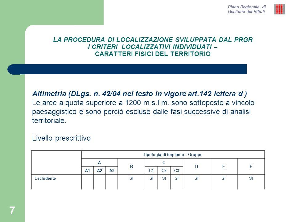 8 LA PROCEDURA DI LOCALIZZAZIONE SVILUPPATA DAL PRGR I CRITERI LOCALIZZATIVI INDIVIDUATI – ASPETTI STRATEGICO FUNZIONALI Aree a rischio idrogeologico – Bacino del Tevere Livello prescrittivo Tipologia di impianto - Gruppo A B C DEF A1A2A3C1C2C3 Escludente (Aree a rischio R3 e R4) SI Penalizzante (Aree a rischio R2 e R1) SI Piano Regionale di Gestione dei Rifiuti