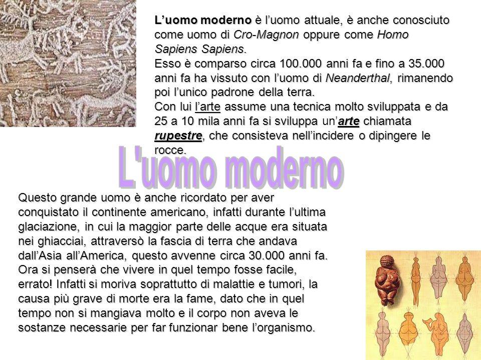 Luomo moderno è luomo attuale, è anche conosciuto come uomo di Cro-Magnon oppure come Homo Sapiens Sapiens. Esso è comparso circa 100.000 anni fa e fi