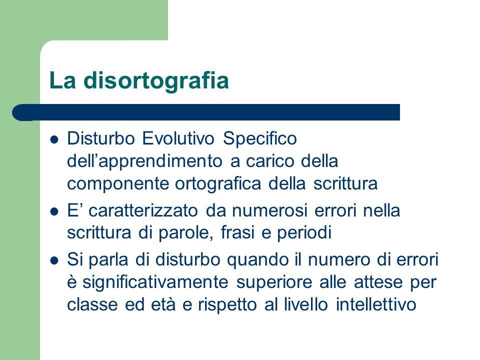 La disortografia Disturbo Evolutivo Specifico dellapprendimento a carico della componente ortografica della scrittura E caratterizzato da numerosi err