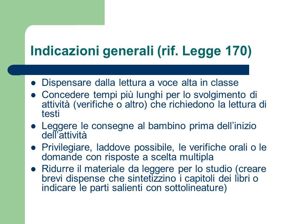 Indicazioni generali (rif. Legge 170) Dispensare dalla lettura a voce alta in classe Concedere tempi più lunghi per lo svolgimento di attività (verifi