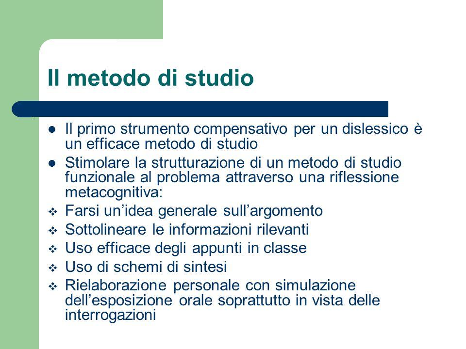 Il metodo di studio Il primo strumento compensativo per un dislessico è un efficace metodo di studio Stimolare la strutturazione di un metodo di studi