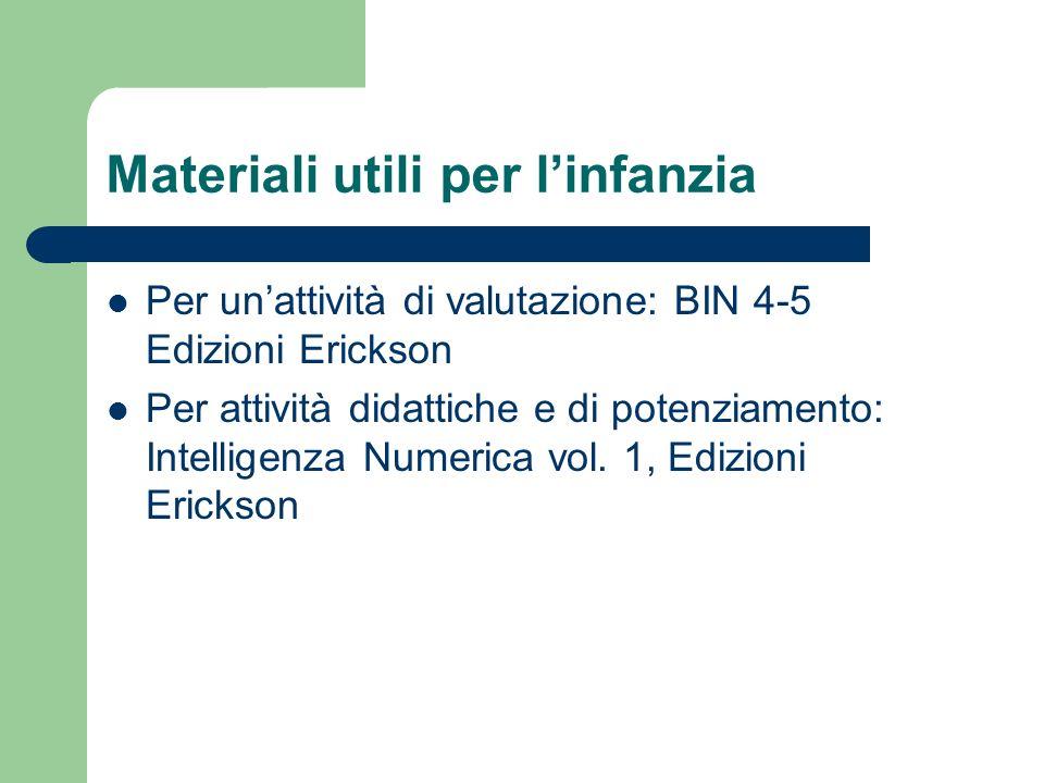 Materiali utili per linfanzia Per unattività di valutazione: BIN 4-5 Edizioni Erickson Per attività didattiche e di potenziamento: Intelligenza Numerica vol.