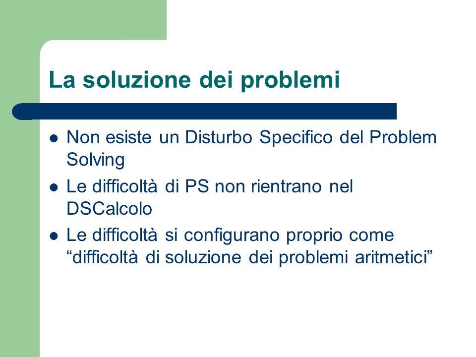 La soluzione dei problemi Non esiste un Disturbo Specifico del Problem Solving Le difficoltà di PS non rientrano nel DSCalcolo Le difficoltà si configurano proprio come difficoltà di soluzione dei problemi aritmetici