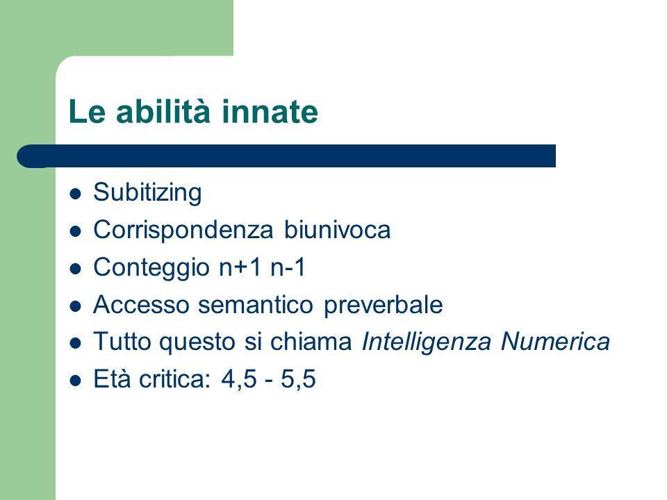 Le abilità innate Subitizing Corrispondenza biunivoca Conteggio n+1 n-1 Accesso semantico preverbale Tutto questo si chiama Intelligenza Numerica Età critica: 4,5 - 5,5