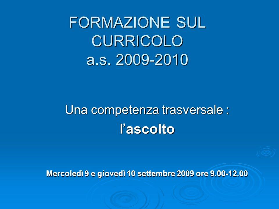 FORMAZIONE SUL CURRICOLO a.s.