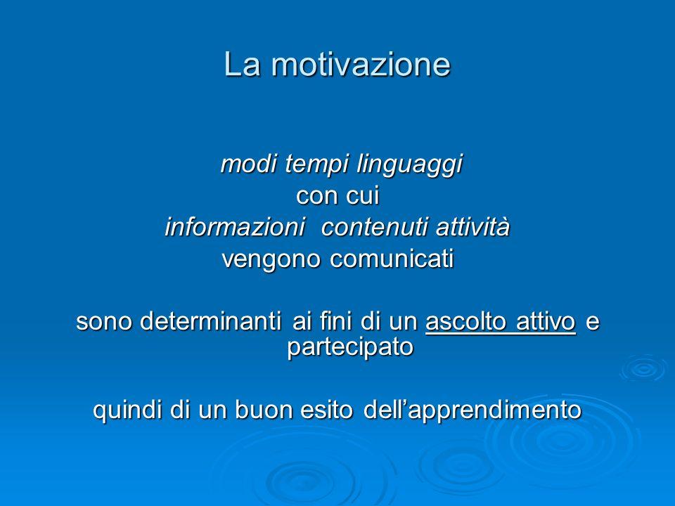 La motivazione modi tempi linguaggi modi tempi linguaggi con cui informazioni contenuti attività vengono comunicati sono determinanti ai fini di un ascolto attivo e partecipato quindi di un buon esito dellapprendimento
