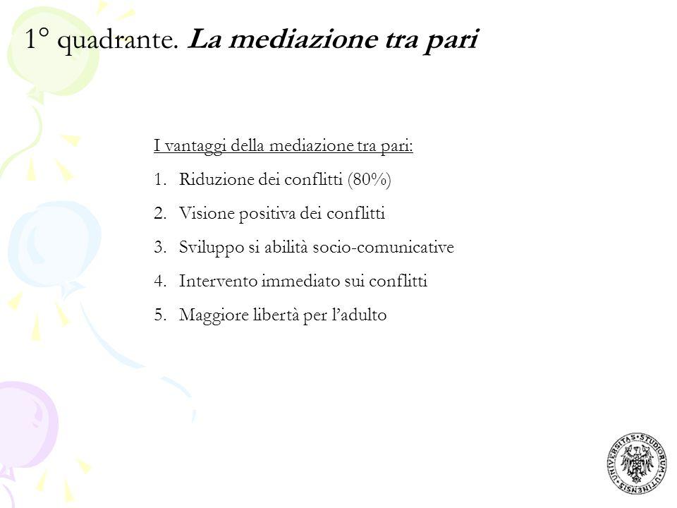 Il processo di mediazione step 1: collocazione del mediatore step 2: approccio ai soggetti in conflitto step 3: presentazione delle regole della mediazione step 4: racconto del primo contendente step 5: racconto del secondo contendente step 6: generazione di soluzioni step 7: valutazione e scelta della soluzione step 8: incontro di verifica 1° quadrante.