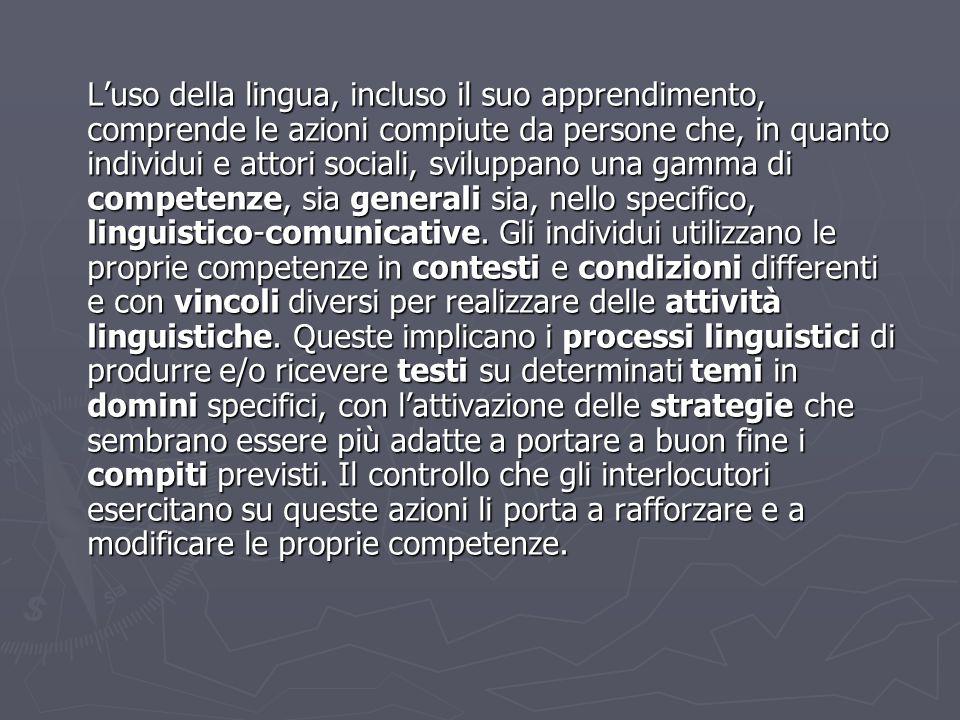 Luso della lingua, incluso il suo apprendimento, comprende le azioni compiute da persone che, in quanto individui e attori sociali, sviluppano una gam