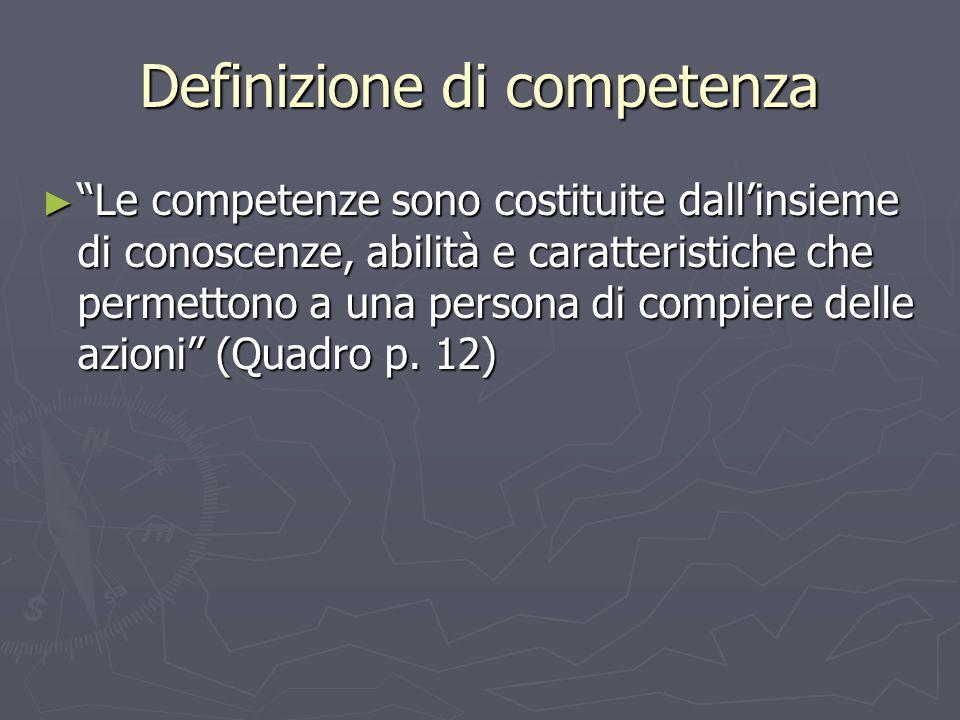 Definizione di competenza Le competenze sono costituite dallinsieme di conoscenze, abilità e caratteristiche che permettono a una persona di compiere