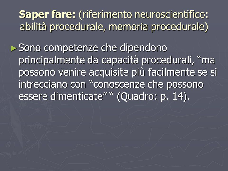 Saper fare: (riferimento neuroscientifico: abilità procedurale, memoria procedurale) Sono competenze che dipendono principalmente da capacità procedur