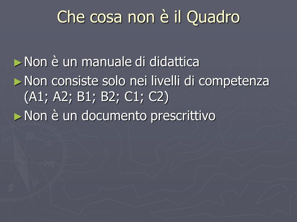 Che cosa non è il Quadro Non è un manuale di didattica Non è un manuale di didattica Non consiste solo nei livelli di competenza (A1; A2; B1; B2; C1;