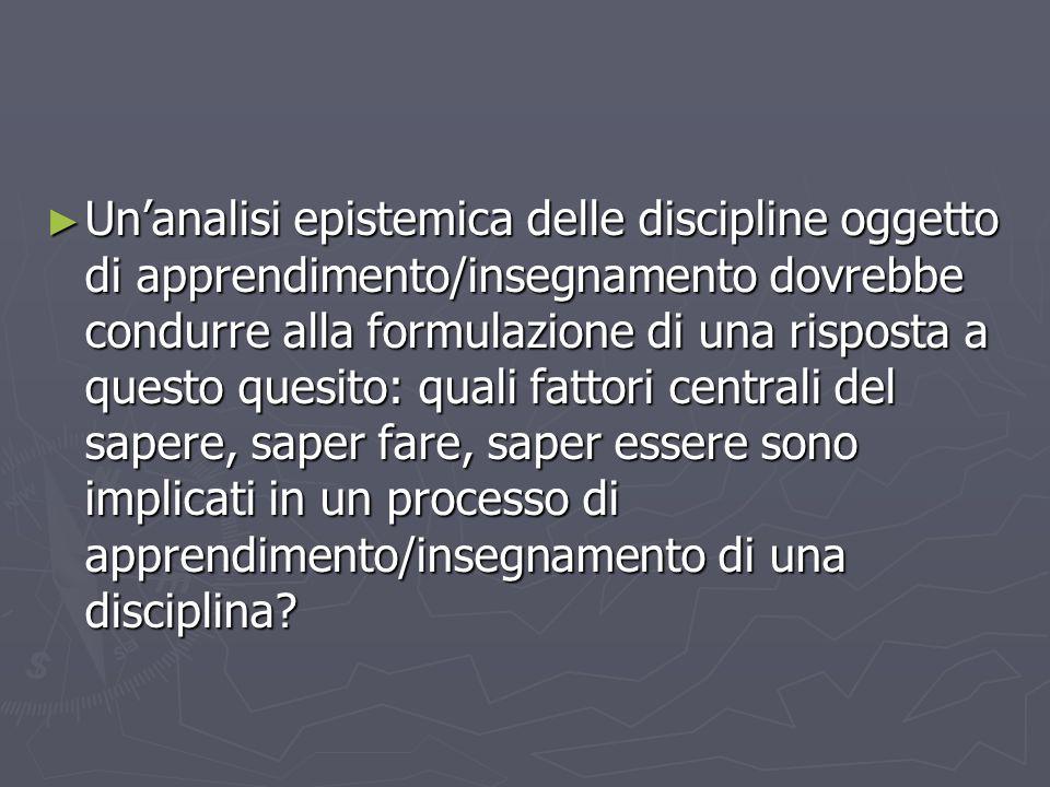 Unanalisi epistemica delle discipline oggetto di apprendimento/insegnamento dovrebbe condurre alla formulazione di una risposta a questo quesito: qual