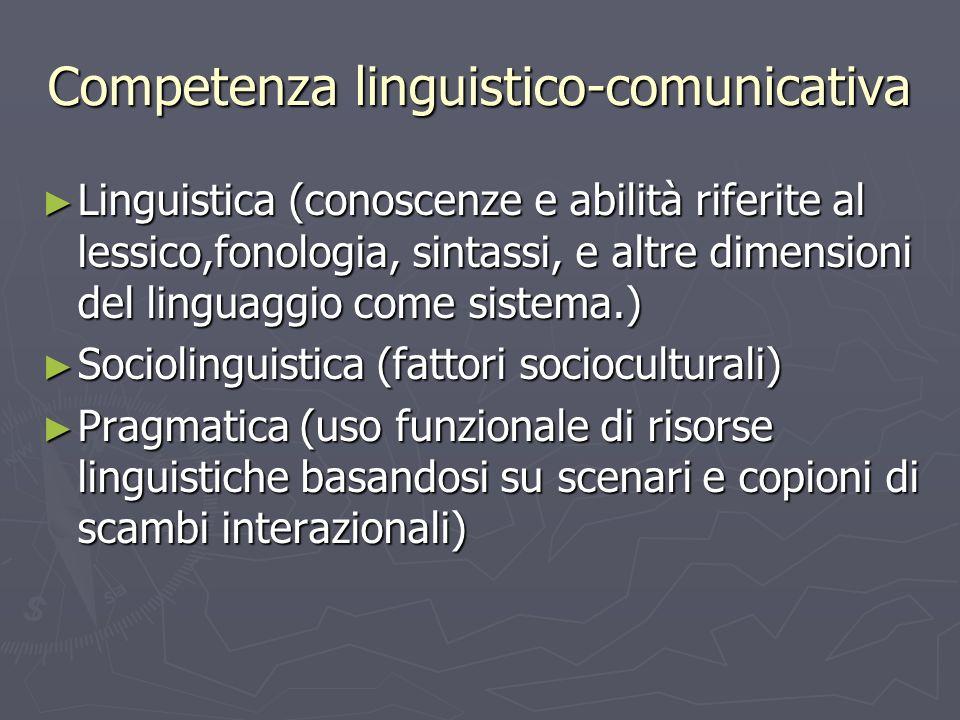 Competenza linguistico-comunicativa Linguistica (conoscenze e abilità riferite al lessico,fonologia, sintassi, e altre dimensioni del linguaggio come
