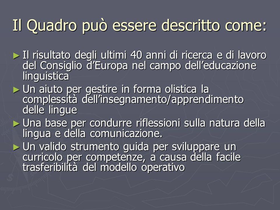 Il Quadro può essere descritto come: Il risultato degli ultimi 40 anni di ricerca e di lavoro del Consiglio dEuropa nel campo delleducazione linguisti