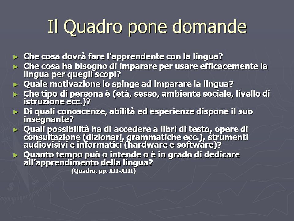 Il Quadro pone domande Che cosa dovrà fare lapprendente con la lingua? Che cosa dovrà fare lapprendente con la lingua? Che cosa ha bisogno di imparare