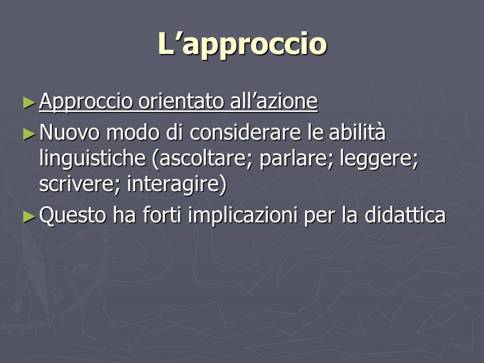 Lapproccio Approccio orientato allazione Approccio orientato allazione Nuovo modo di considerare le abilità linguistiche (ascoltare; parlare; leggere;