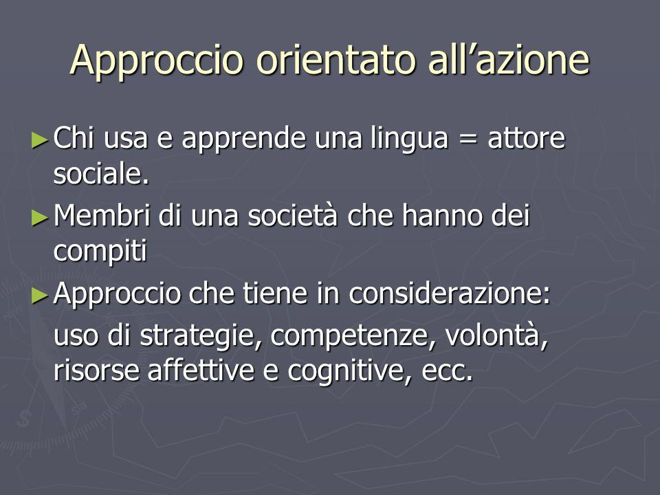 Approccio orientato allazione Chi usa e apprende una lingua = attore sociale. Chi usa e apprende una lingua = attore sociale. Membri di una società ch