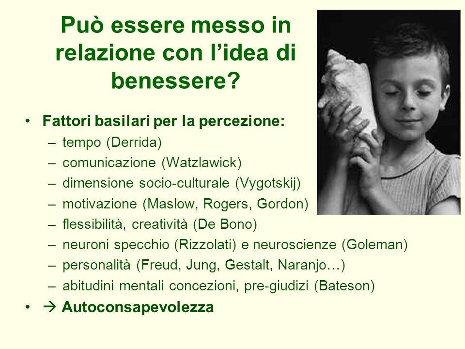 Può essere messo in relazione con lidea di benessere? Fattori basilari per la percezione: –tempo (Derrida) –comunicazione (Watzlawick) –dimensione soc
