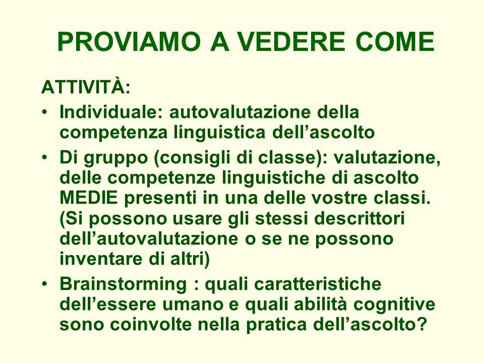PROVIAMO A VEDERE COME ATTIVITÀ: Individuale: autovalutazione della competenza linguistica dellascolto Di gruppo (consigli di classe): valutazione, de