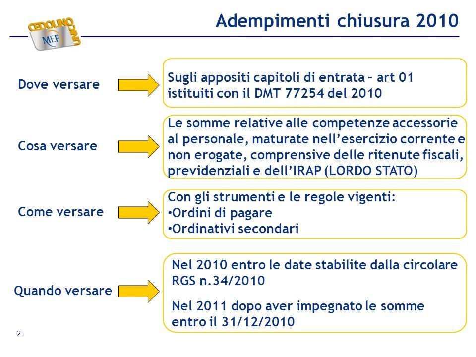 3 UFFICI CENTRALI E PERIFERICI Impegno entro il 31/12/2010 e versamento nel 2011 sul capitolo articolo di entrata con OP su impegno FUNZIONARI DELEGATI di Contabilità Ordinaria Presentazione del modello 62 C.G.