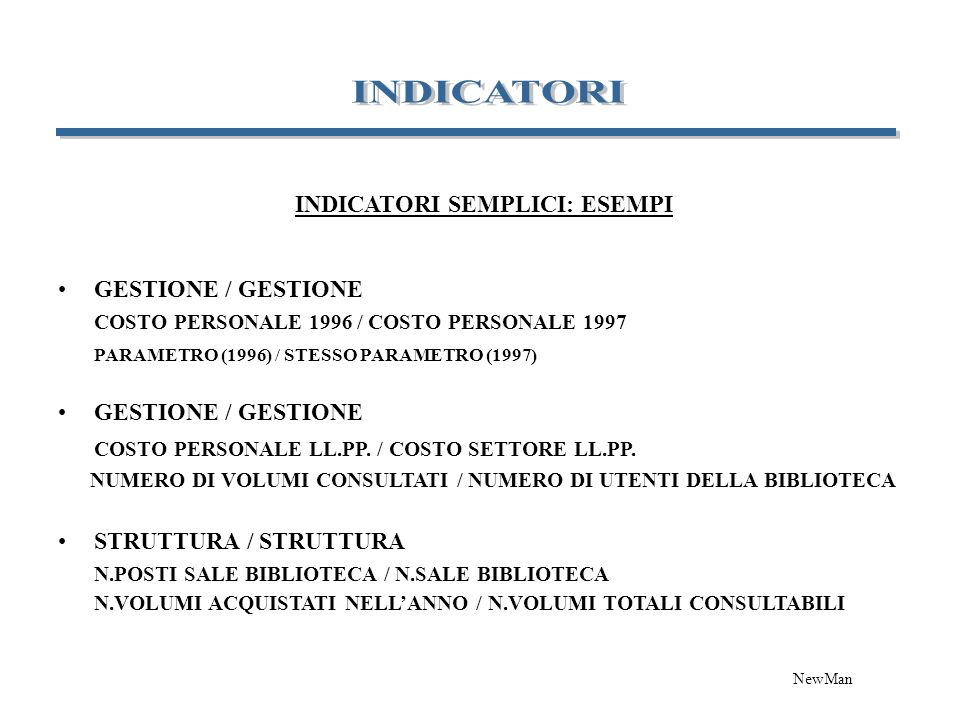 INDICATORI SEMPLICI: ESEMPI GESTIONE / GESTIONE COSTO PERSONALE 1996 / COSTO PERSONALE 1997 PARAMETRO (1996) / STESSO PARAMETRO (1997) GESTIONE / GEST