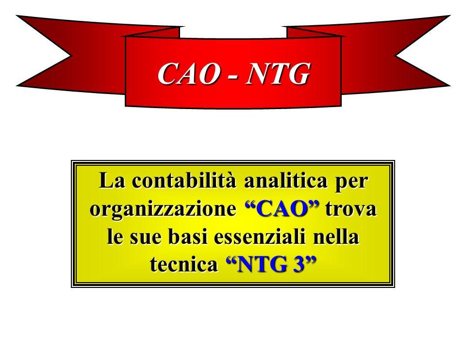 CAO - NTG La contabilità analitica per organizzazione CAO trova le sue basi essenziali nella tecnica NTG 3