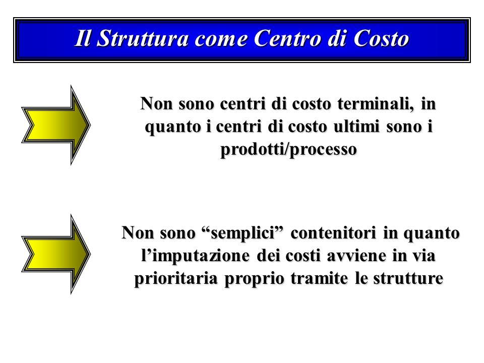 Il Struttura come Centro di Costo Non sono centri di costo terminali, in quanto i centri di costo ultimi sono i prodotti/processo Non sono semplici contenitori in quanto limputazione dei costi avviene in via prioritaria proprio tramite le strutture Non sono semplici contenitori in quanto limputazione dei costi avviene in via prioritaria proprio tramite le strutture