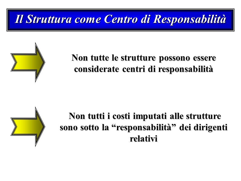 Il Struttura come Centro di Responsabilità Non tutte le strutture possono essere considerate centri di responsabilità Non tutti i costi imputati alle