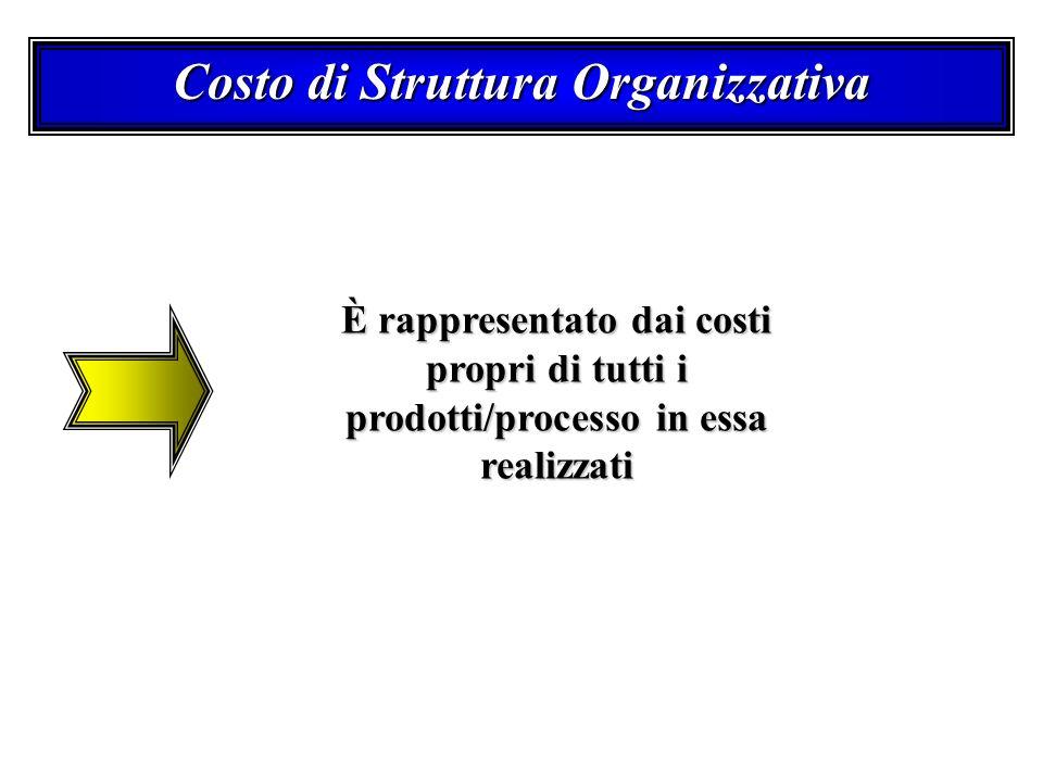 Costo di Struttura Organizzativa È rappresentato dai costi propri di tutti i prodotti/processo in essa realizzati