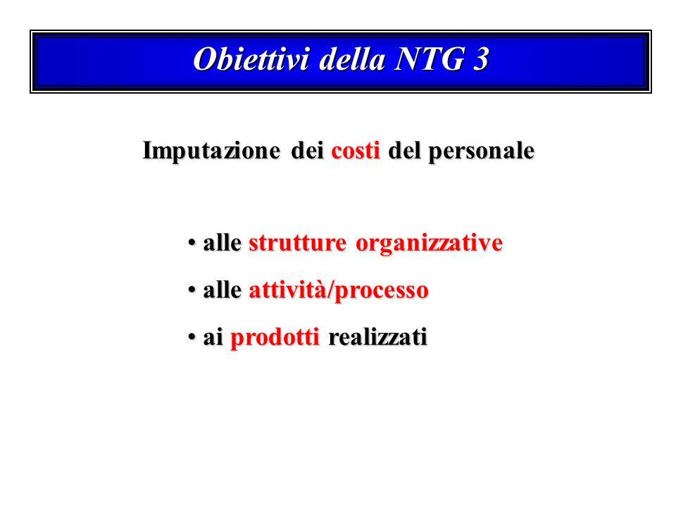 Obiettivi della NTG 3 Imputazione dei costi del personale alle strutture organizzative alle strutture organizzative alle attività/processo alle attivi