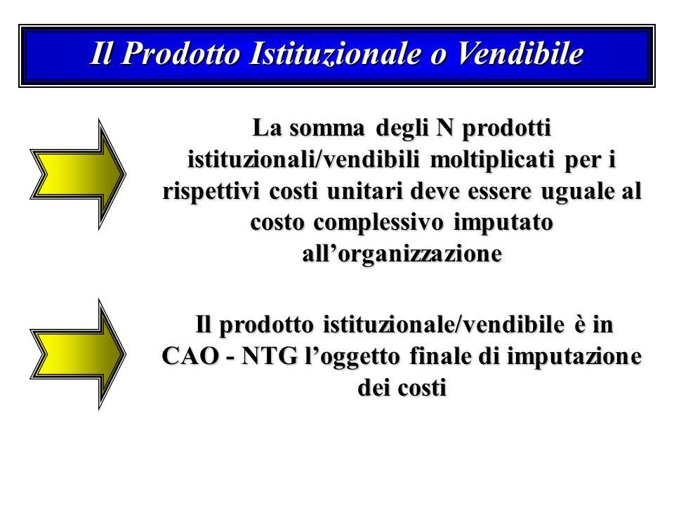 Il Prodotto Istituzionale o Vendibile La somma degli N prodotti istituzionali/vendibili moltiplicati per i rispettivi costi unitari deve essere uguale al costo complessivo imputato allorganizzazione Il prodotto istituzionale/vendibile è in CAO - NTG loggetto finale di imputazione dei costi Il prodotto istituzionale/vendibile è in CAO - NTG loggetto finale di imputazione dei costi