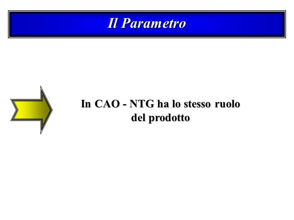 Il Parametro In CAO - NTG ha lo stesso ruolo del prodotto