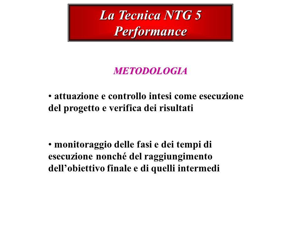 La Tecnica NTG 5 Performance METODOLOGIA attuazione e controllo intesi come esecuzione del progetto e verifica dei risultati monitoraggio delle fasi e dei tempi di esecuzione nonché del raggiungimento dellobiettivo finale e di quelli intermedi