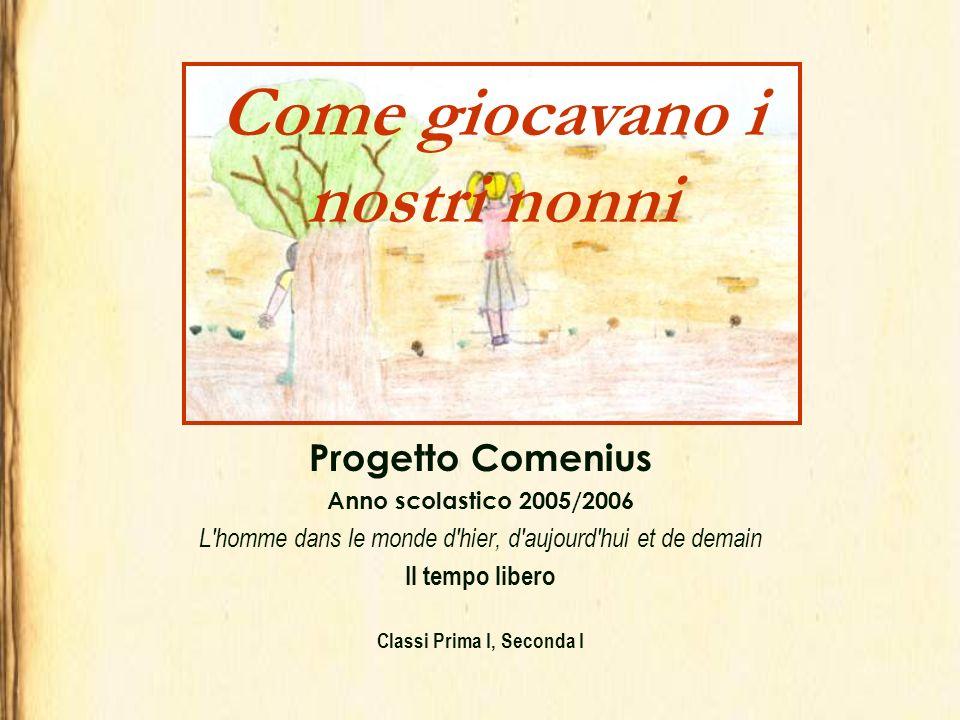 Progetto Comenius Anno scolastico 2005/2006 L'homme dans le monde d'hier, d'aujourd'hui et de demain Il tempo libero Classi Prima I, Seconda I Come gi