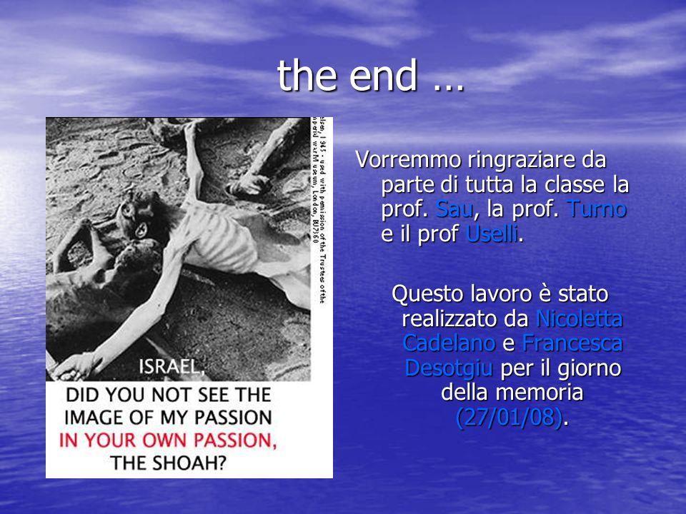 the end … the end … Vorremmo ringraziare da parte di tutta la classe la prof. Sau, la prof. Turno e il prof Uselli. Questo lavoro è stato realizzato d
