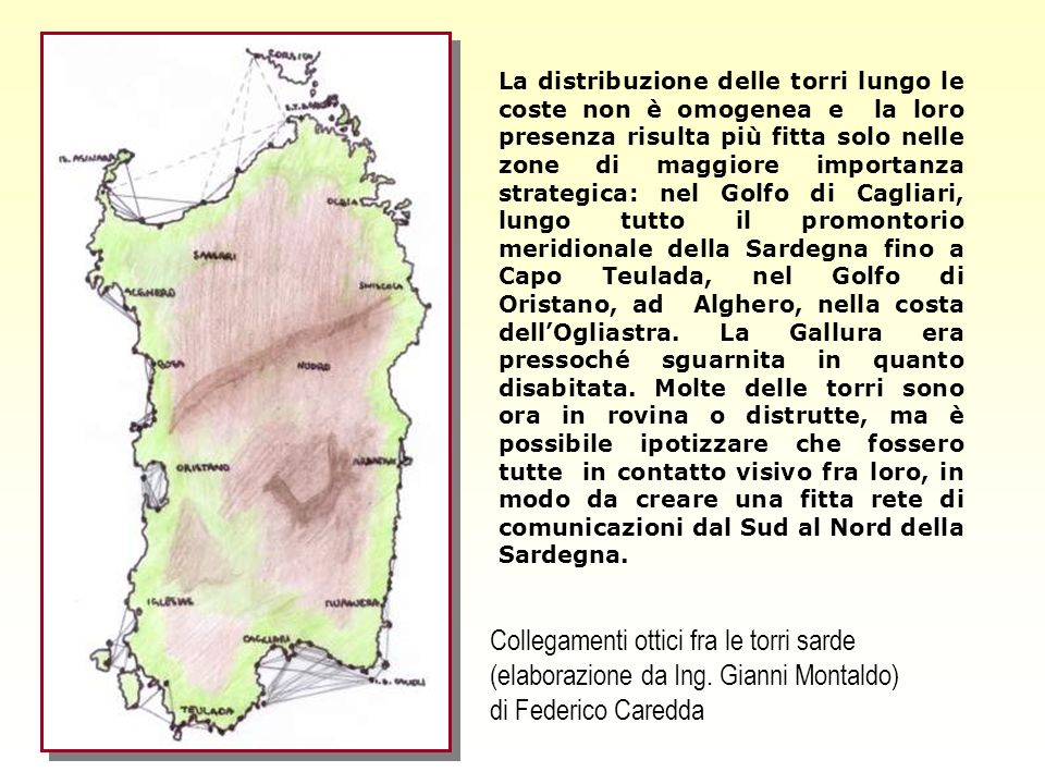 Collegamenti ottici fra le torri sarde (elaborazione da Ing.