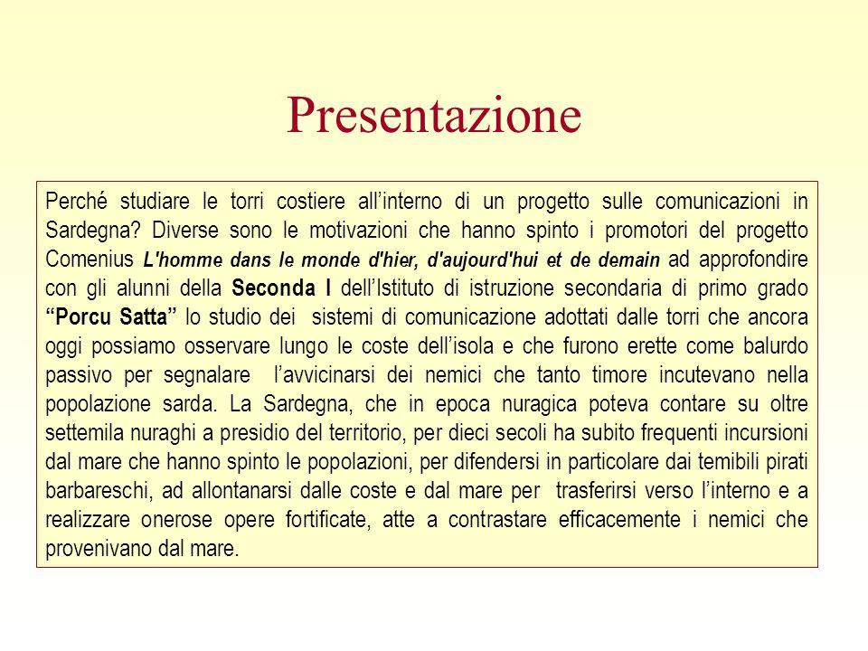 Presentazione Perché studiare le torri costiere allinterno di un progetto sulle comunicazioni in Sardegna.