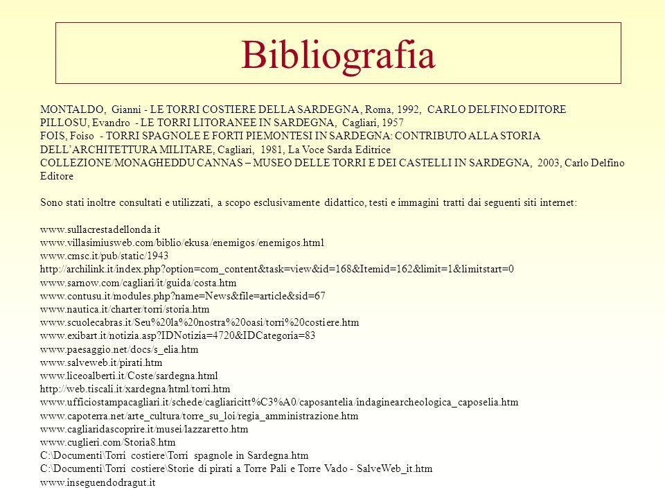Bibliografia MONTALDO, Gianni - LE TORRI COSTIERE DELLA SARDEGNA, Roma, 1992, CARLO DELFINO EDITORE PILLOSU, Evandro - LE TORRI LITORANEE IN SARDEGNA, Cagliari, 1957 FOIS, Foiso - TORRI SPAGNOLE E FORTI PIEMONTESI IN SARDEGNA: CONTRIBUTO ALLA STORIA DELLARCHITETTURA MILITARE, Cagliari, 1981, La Voce Sarda Editrice COLLEZIONE/MONAGHEDDU CANNAS – MUSEO DELLE TORRI E DEI CASTELLI IN SARDEGNA, 2003, Carlo Delfino Editore Sono stati inoltre consultati e utilizzati, a scopo esclusivamente didattico, testi e immagini tratti dai seguenti siti internet: www.sullacrestadellonda.it www.villasimiusweb.com/biblio/ekusa/enemigos/enemigos.html www.cmsc.it/pub/static/1943 http://archilink.it/index.php?option=com_content&task=view&id=168&Itemid=162&limit=1&limitstart=0 www.sarnow.com/cagliari/it/guida/costa.htm www.contusu.it/modules.php?name=News&file=article&sid=67 www.nautica.it/charter/torri/storia.htm www.scuolecabras.it/Seu%20la%20nostra%20oasi/torri%20costiere.htm www.exibart.it/notizia.asp?IDNotizia=4720&IDCategoria=83 www.paesaggio.net/docs/s_elia.htm www.salveweb.it/pirati.htm www.liceoalberti.it/Coste/sardegna.html http://web.tiscali.it/xardegna/html/torri.htm www.ufficiostampacagliari.it/schede/cagliaricitt%C3%A0/caposantelia/indaginearcheologica_caposelia.htm www.capoterra.net/arte_cultura/torre_su_loi/regia_amministrazione.htm www.cagliaridascoprire.it/musei/lazzaretto.htm www.cuglieri.com/Storia8.htm C:\Documenti\Torri costiere\Torri spagnole in Sardegna.htm C:\Documenti\Torri costiere\Storie di pirati a Torre Pali e Torre Vado - SalveWeb_it.htm www.inseguendodragut.it 10