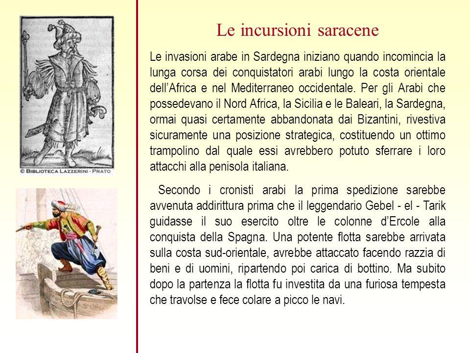 Le incursioni saracene Le invasioni arabe in Sardegna iniziano quando incomincia la lunga corsa dei conquistatori arabi lungo la costa orientale dellAfrica e nel Mediterraneo occidentale.