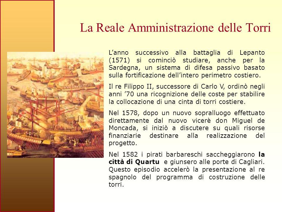 La Reale Amministrazione delle Torri Lanno successivo alla battaglia di Lepanto (1571) si cominciò studiare, anche per la Sardegna, un sistema di difesa passivo basato sulla fortificazione dellintero perimetro costiero.