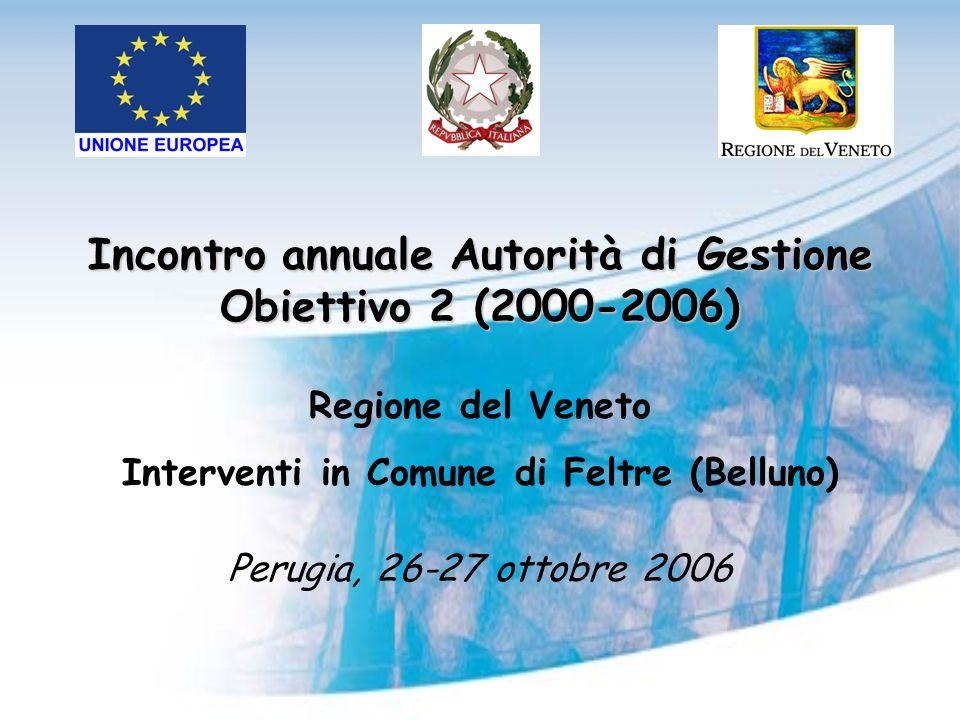 Incontro annuale Autorità di Gestione Obiettivo 2 (2000-2006) Regione del Veneto Interventi in Comune di Feltre (Belluno) Perugia, 26-27 ottobre 2006