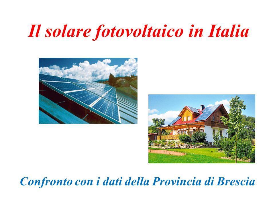 Il solare fotovoltaico in Italia Confronto con i dati della Provincia di Brescia