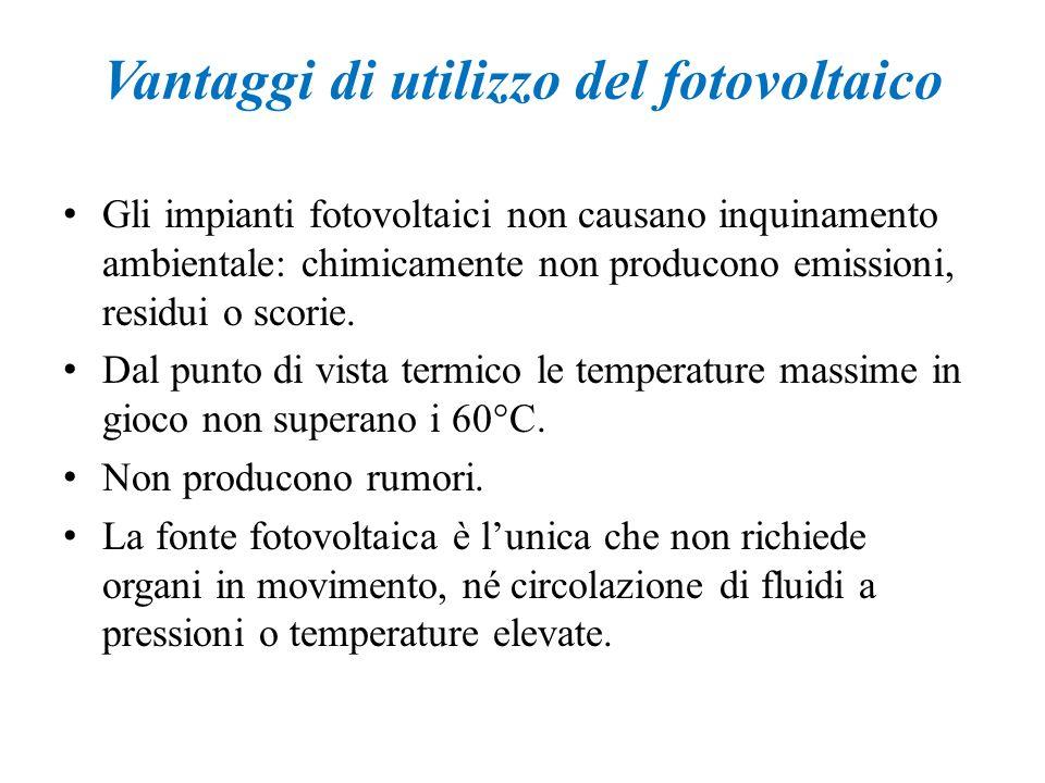 Vantaggi di utilizzo del fotovoltaico Gli impianti fotovoltaici non causano inquinamento ambientale: chimicamente non producono emissioni, residui o s