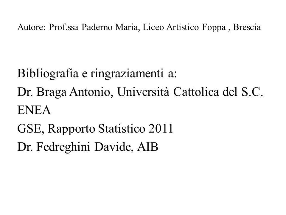 Autore: Prof.ssa Paderno Maria, Liceo Artistico Foppa, Brescia Bibliografia e ringraziamenti a: Dr. Braga Antonio, Università Cattolica del S.C. ENEA