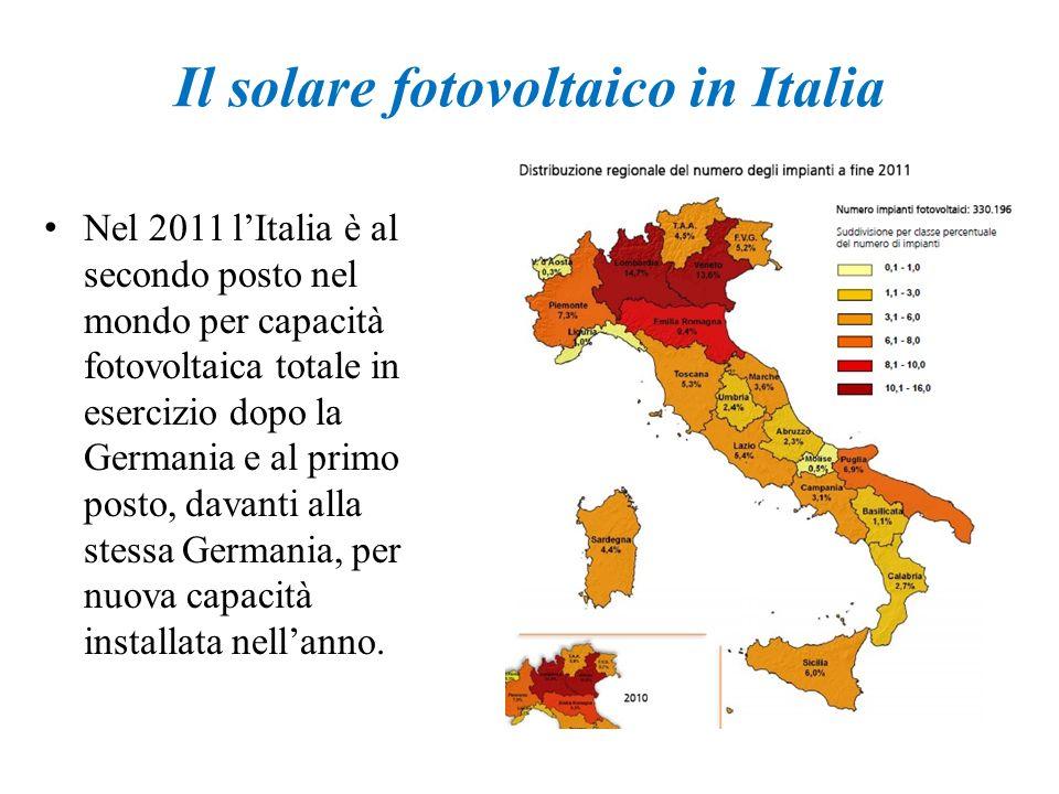 Il solare fotovoltaico in Italia Nel 2011 lItalia è al secondo posto nel mondo per capacità fotovoltaica totale in esercizio dopo la Germania e al pri